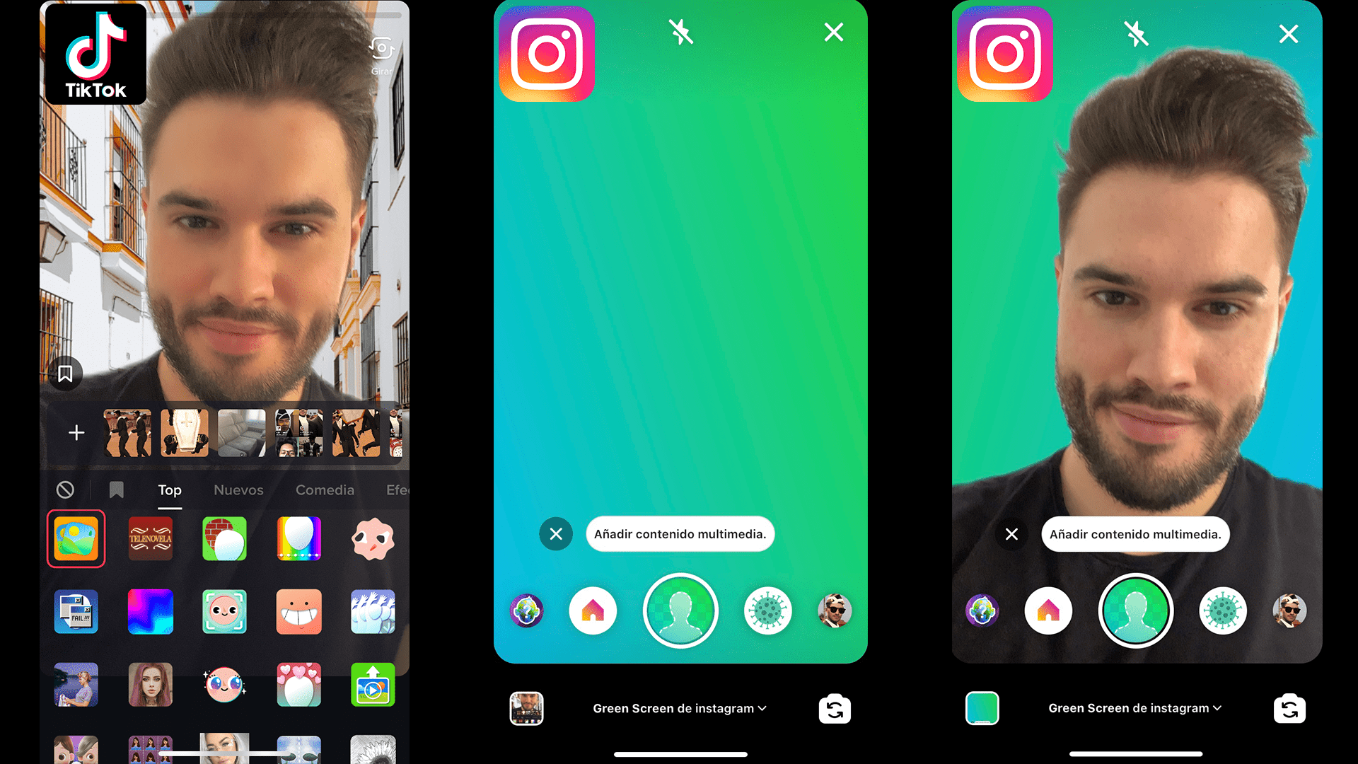 pantalla verde green screen Instagram